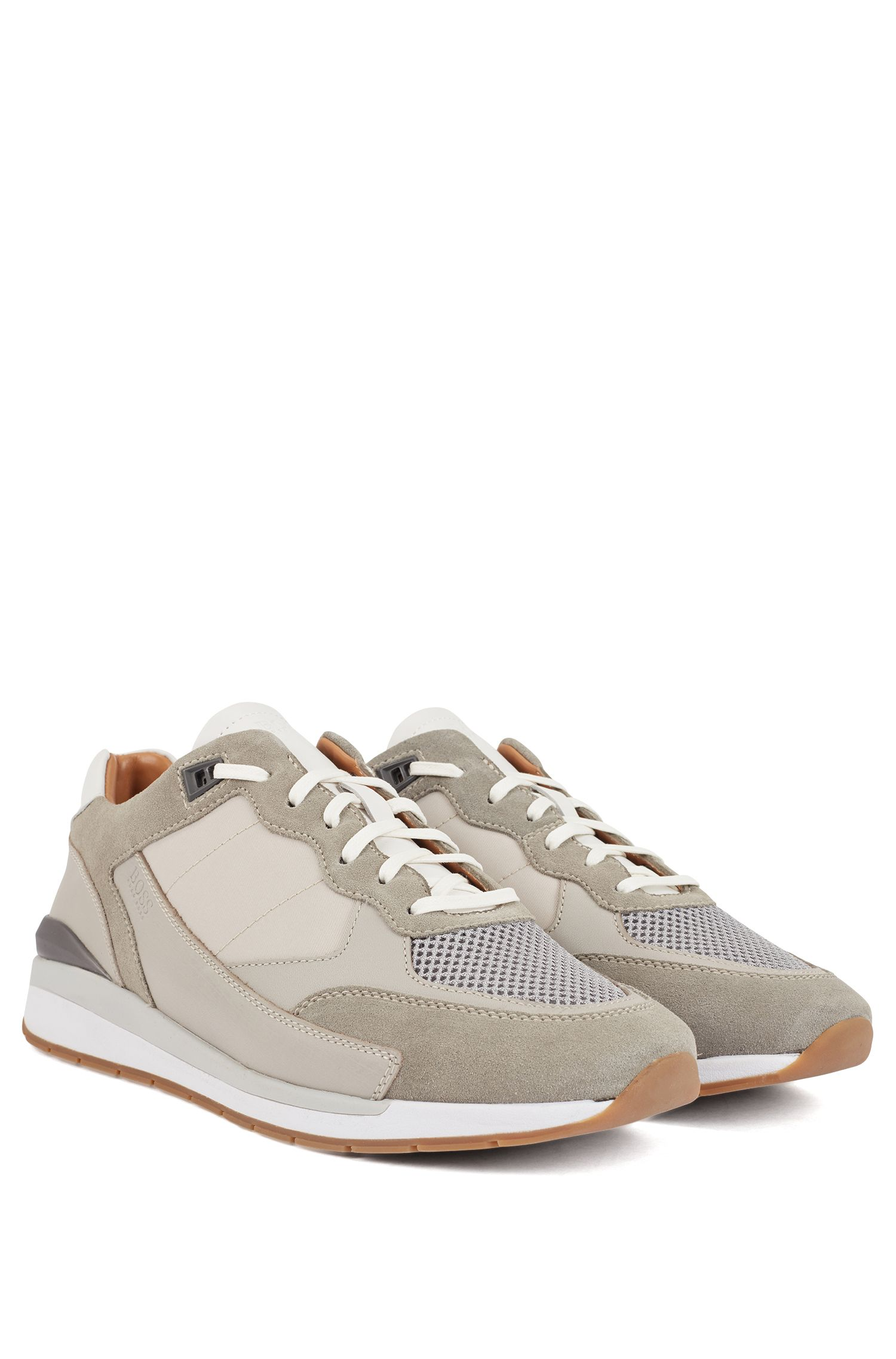 Low-top trainers with hybrid uppers and mesh details, Light Grey