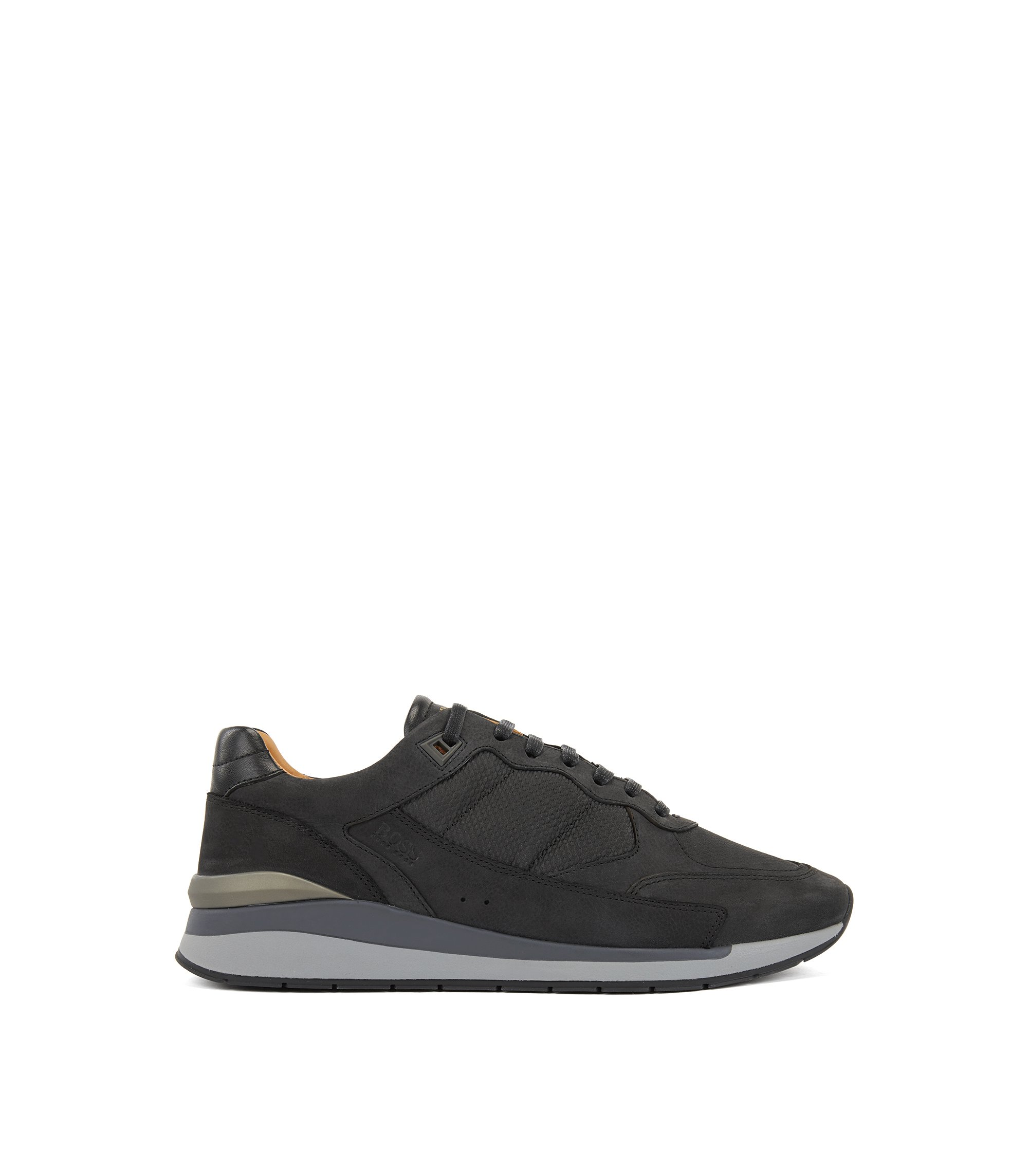 Low-profile trainers with monogram-embossed panels, Black