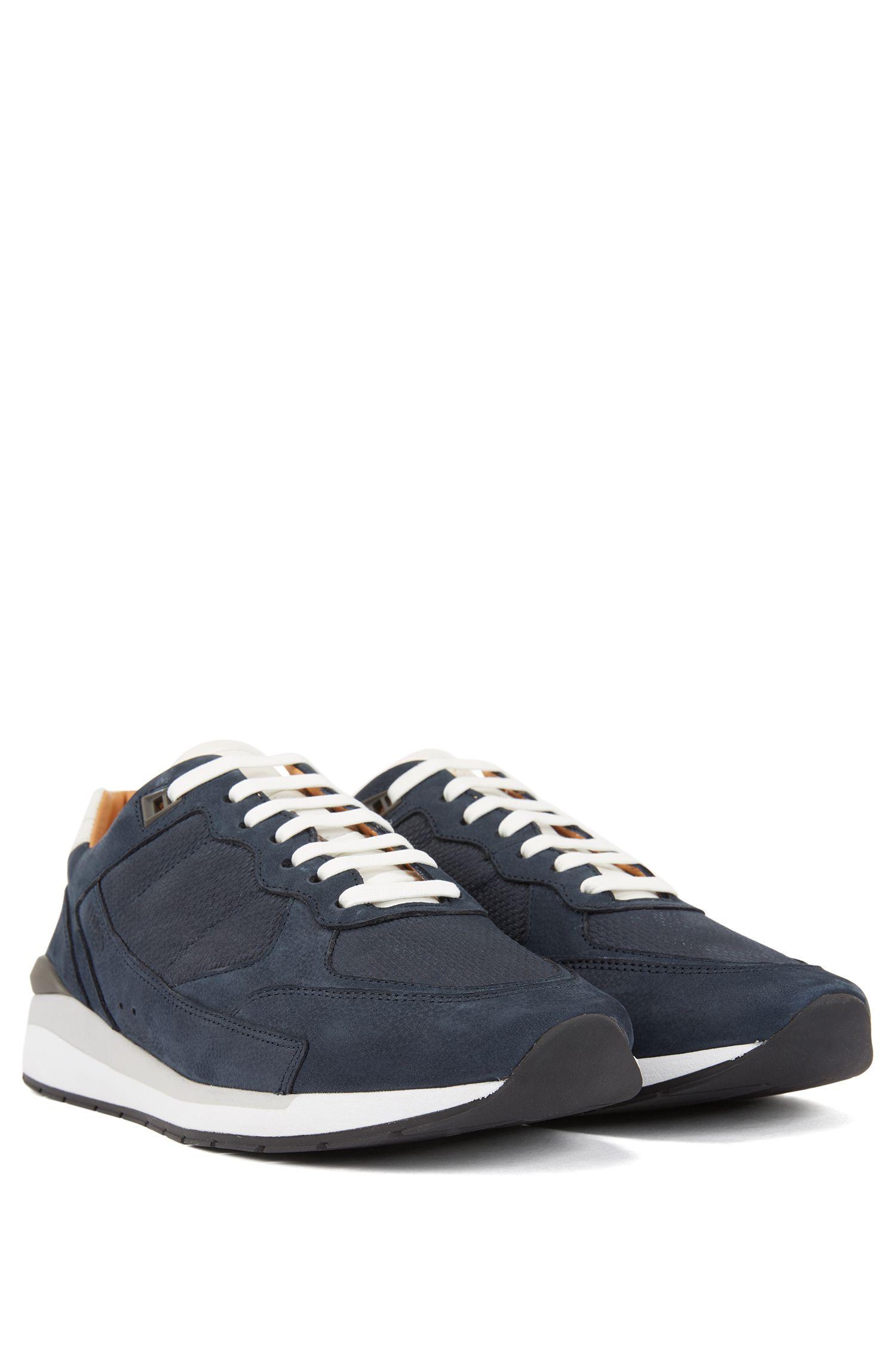 Sneakers mit Einsätzen mit Monogramm-Prägung, Dunkelblau