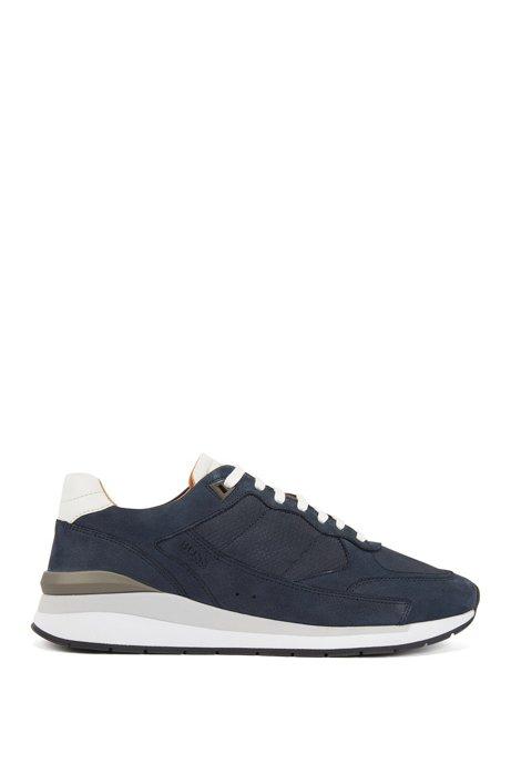 Sneakers basse con pannelli con monogramma goffrato, Blu scuro