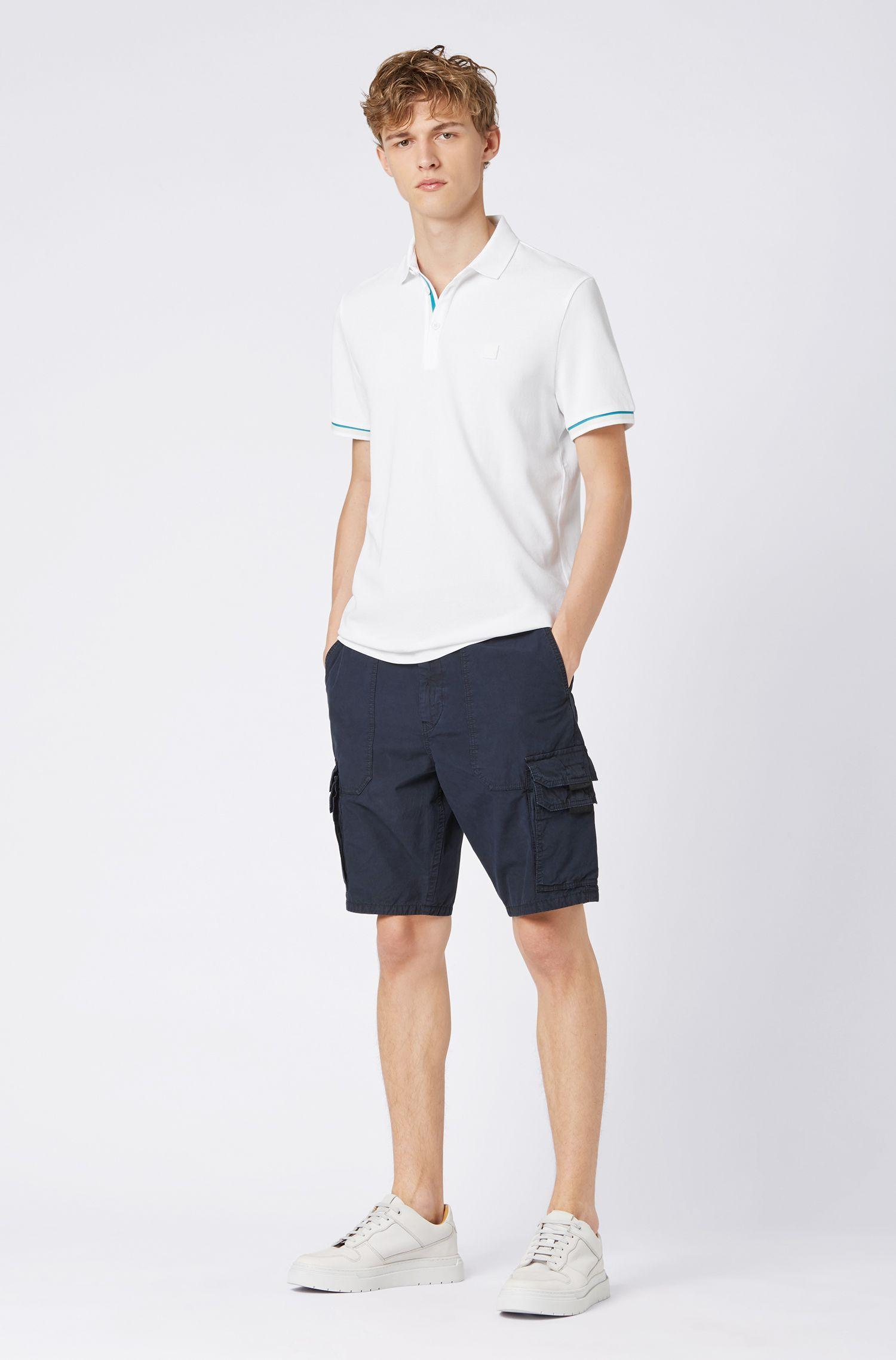 Polo relaxed fit de algodón con detalles de bloques de color, Blanco