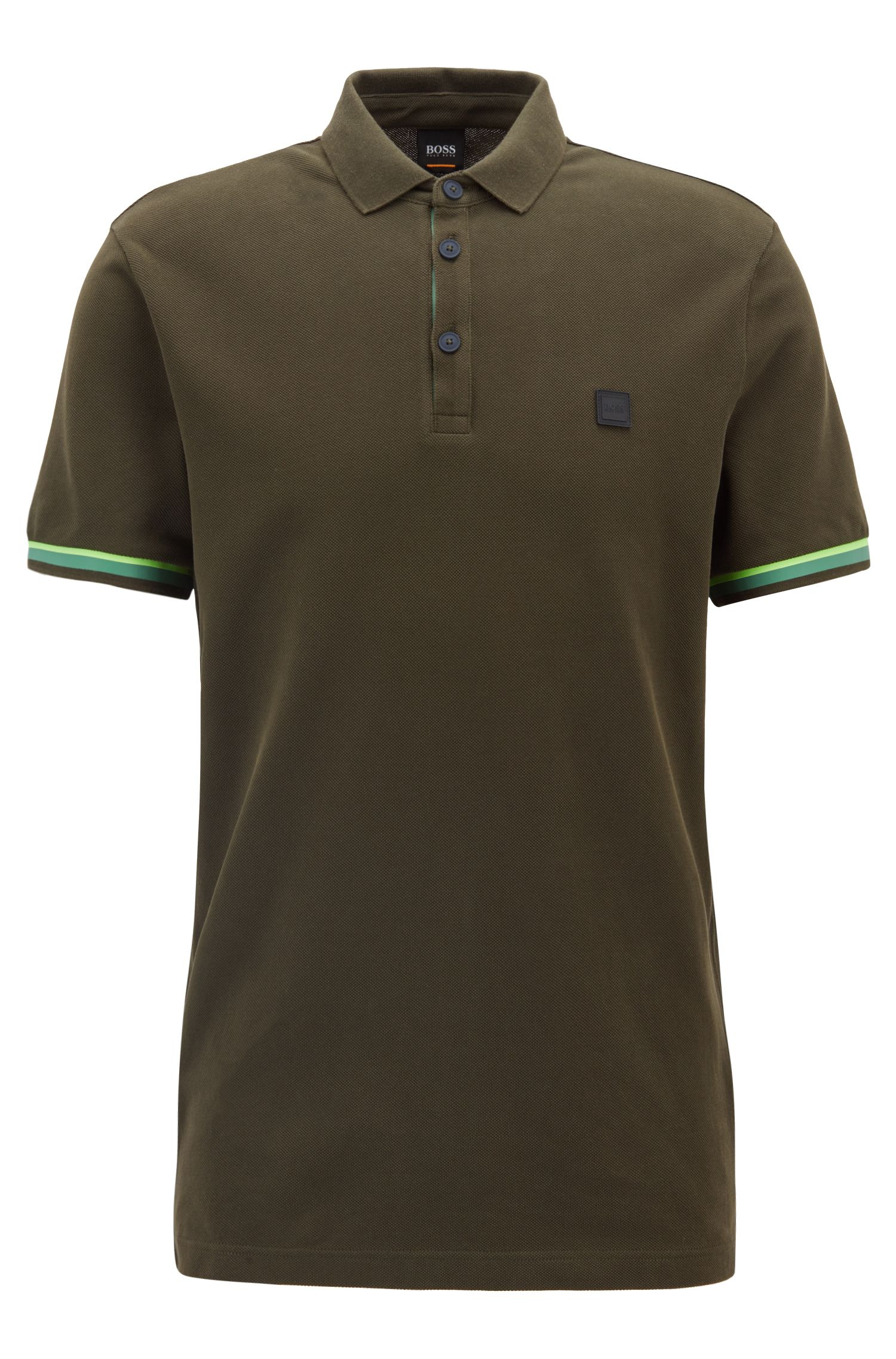 Relaxed-fit polo shirt in cotton with colourblock detailing, Dark Green