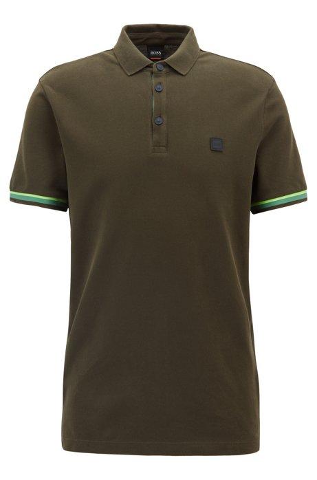 Polo Relaxed Fit en coton à détails color block, Vert sombre