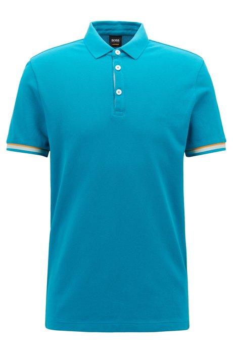 Polo Relaxed Fit en coton à détails color block, Bleu vif