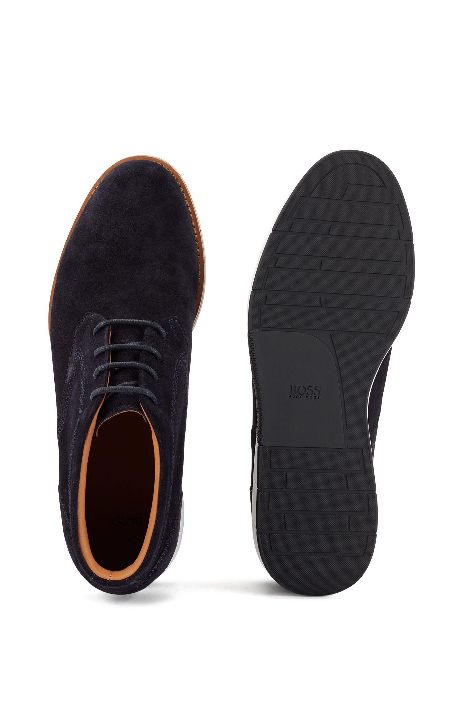Desert boot in pelle scamosciata con suola in gomma EVA, Blu scuro