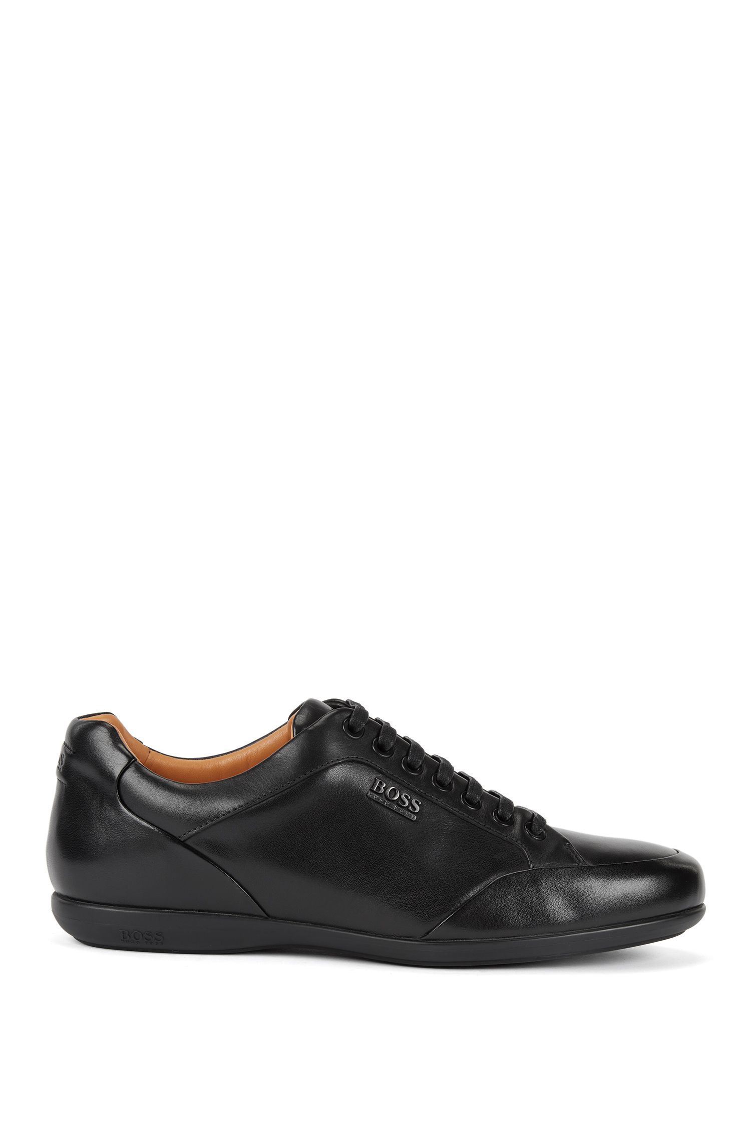 Lace-up trainers in burnished leather with branded hardware, Black