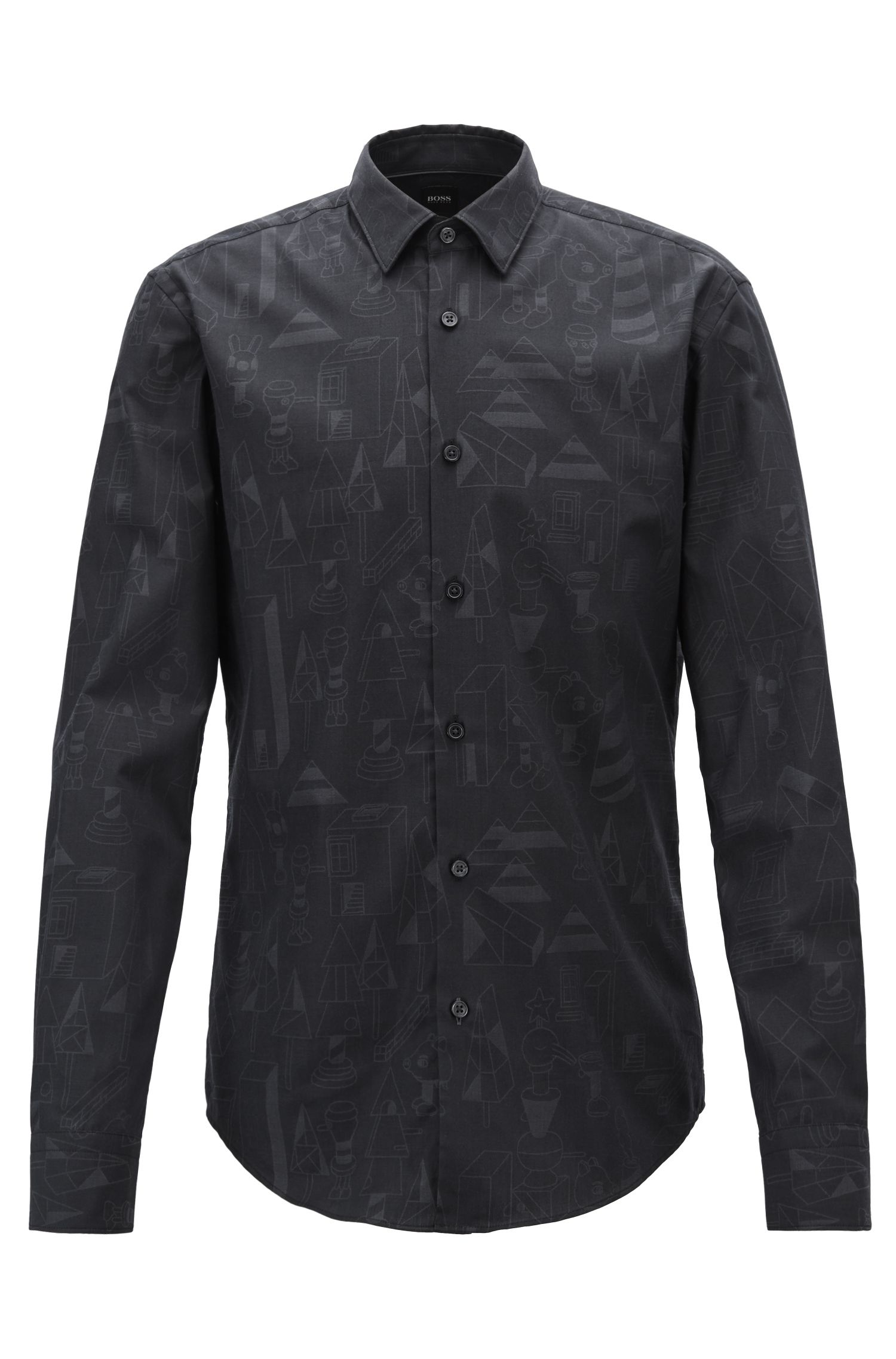 Limited-edition slim-fit shirt with Jeremyville pattern, Black