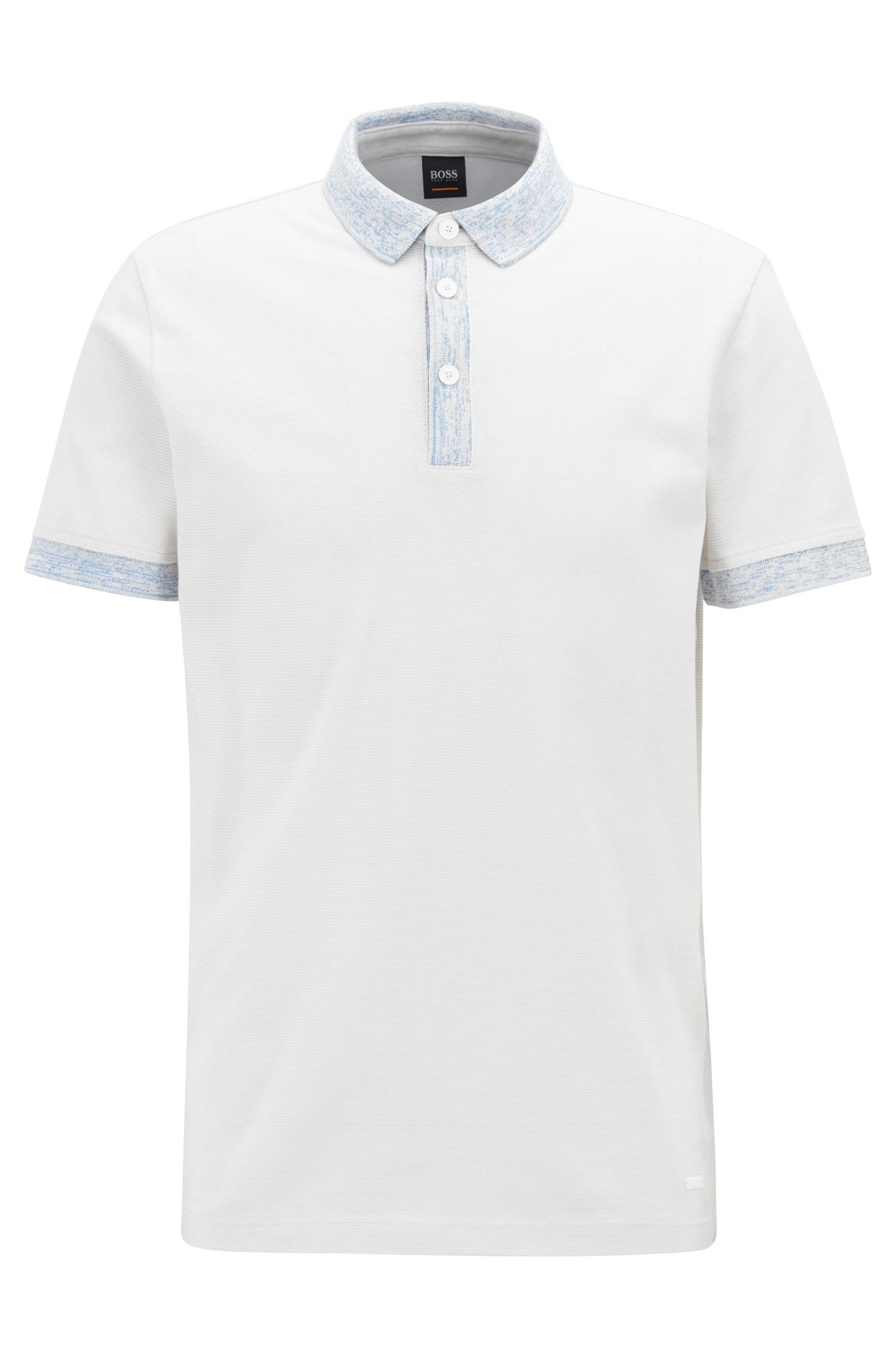 Polo Relaxed Fit en coton avec finitions à motif, Blanc