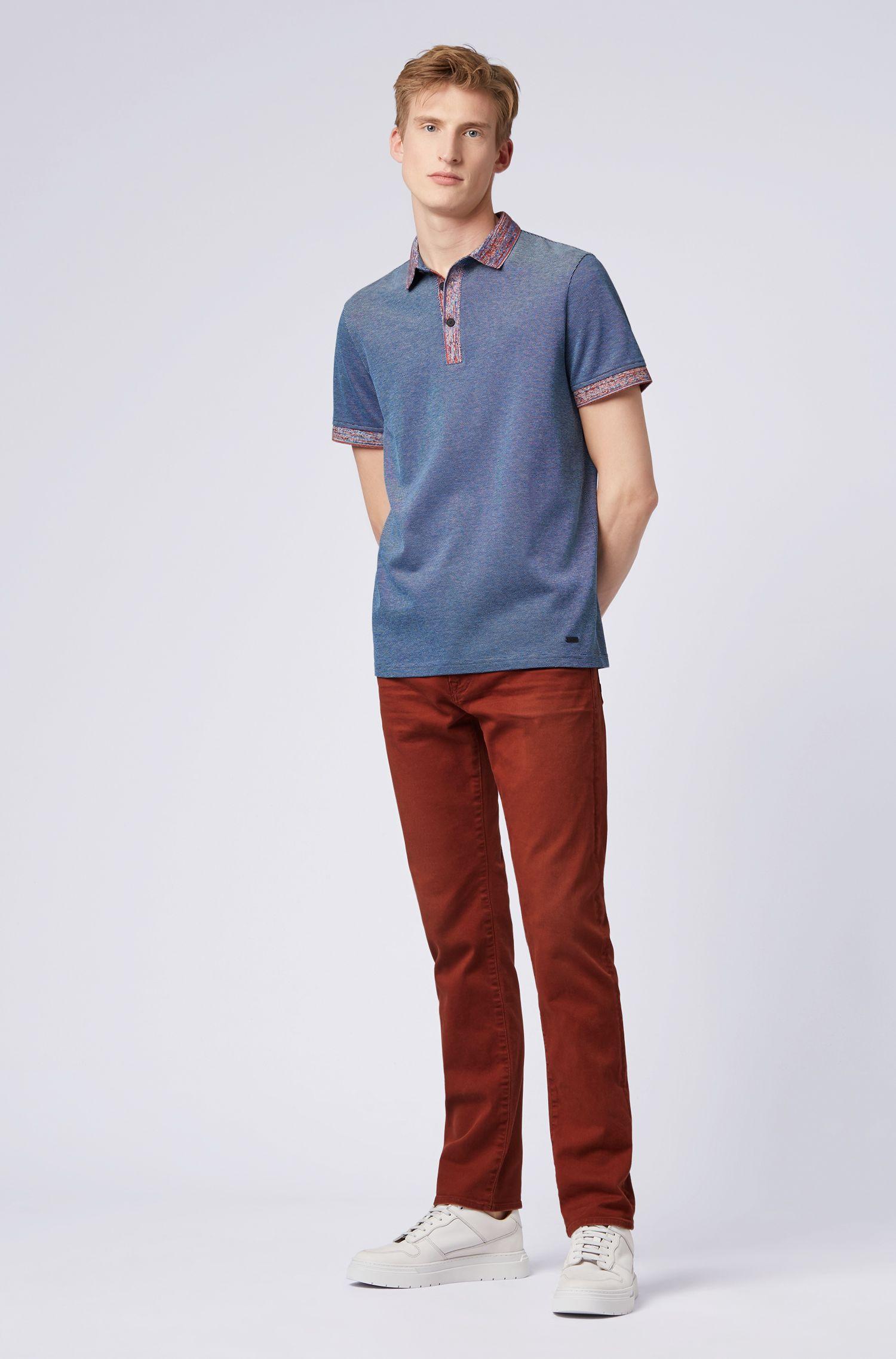 Polo Relaxed Fit en coton avec finitions à motif, Bleu foncé
