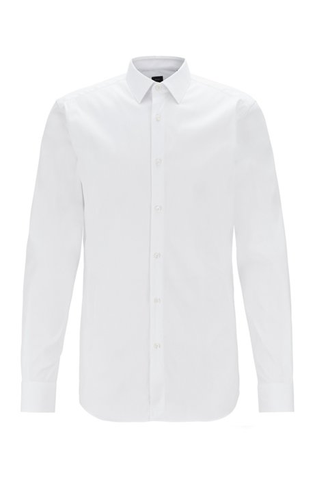Slim-fit shirt with mother-of-pearl buttons, Blanc