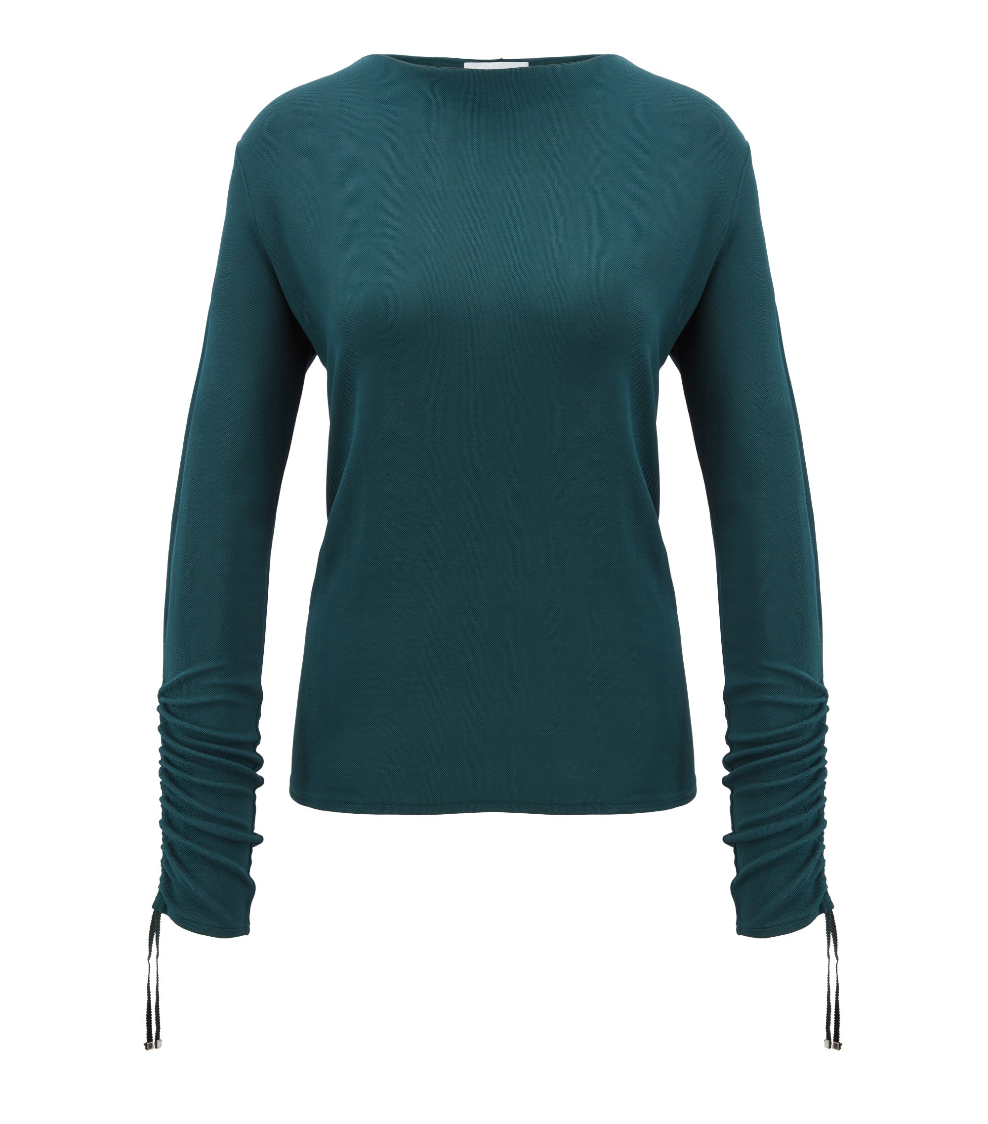 Regular-fit jersey top with gathered sleeves, Open Green