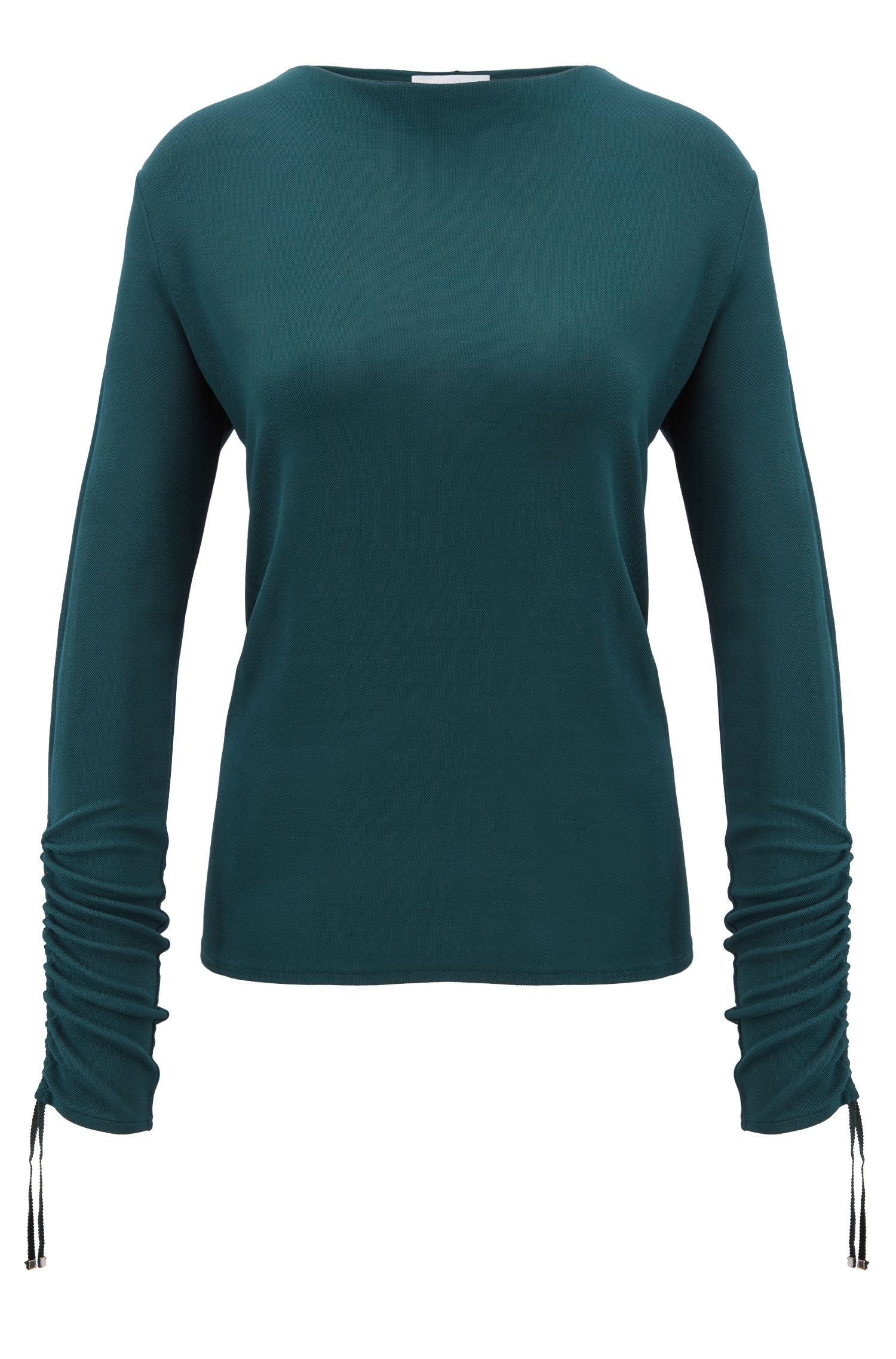 Regular-fit jersey top with gathered sleeves