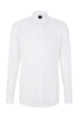 Camisa slim fit de algodón con botones de nácar, Blanco