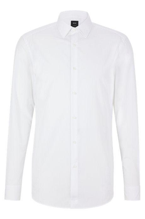 Slim-fit shirt in Italian cotton poplin, White