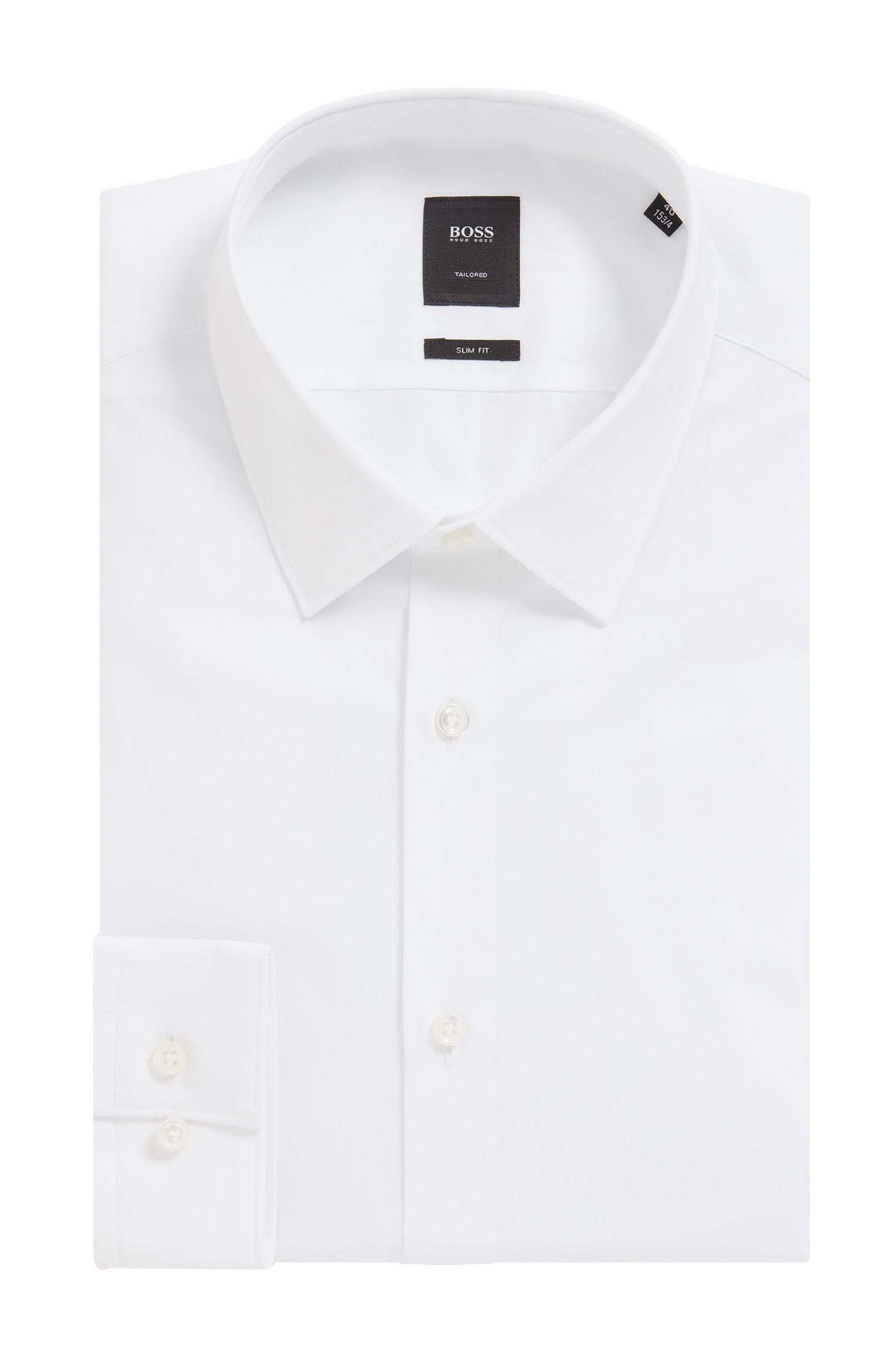 Slim-Fit Hemd aus italienischer Baumwoll-Popeline, Weiß