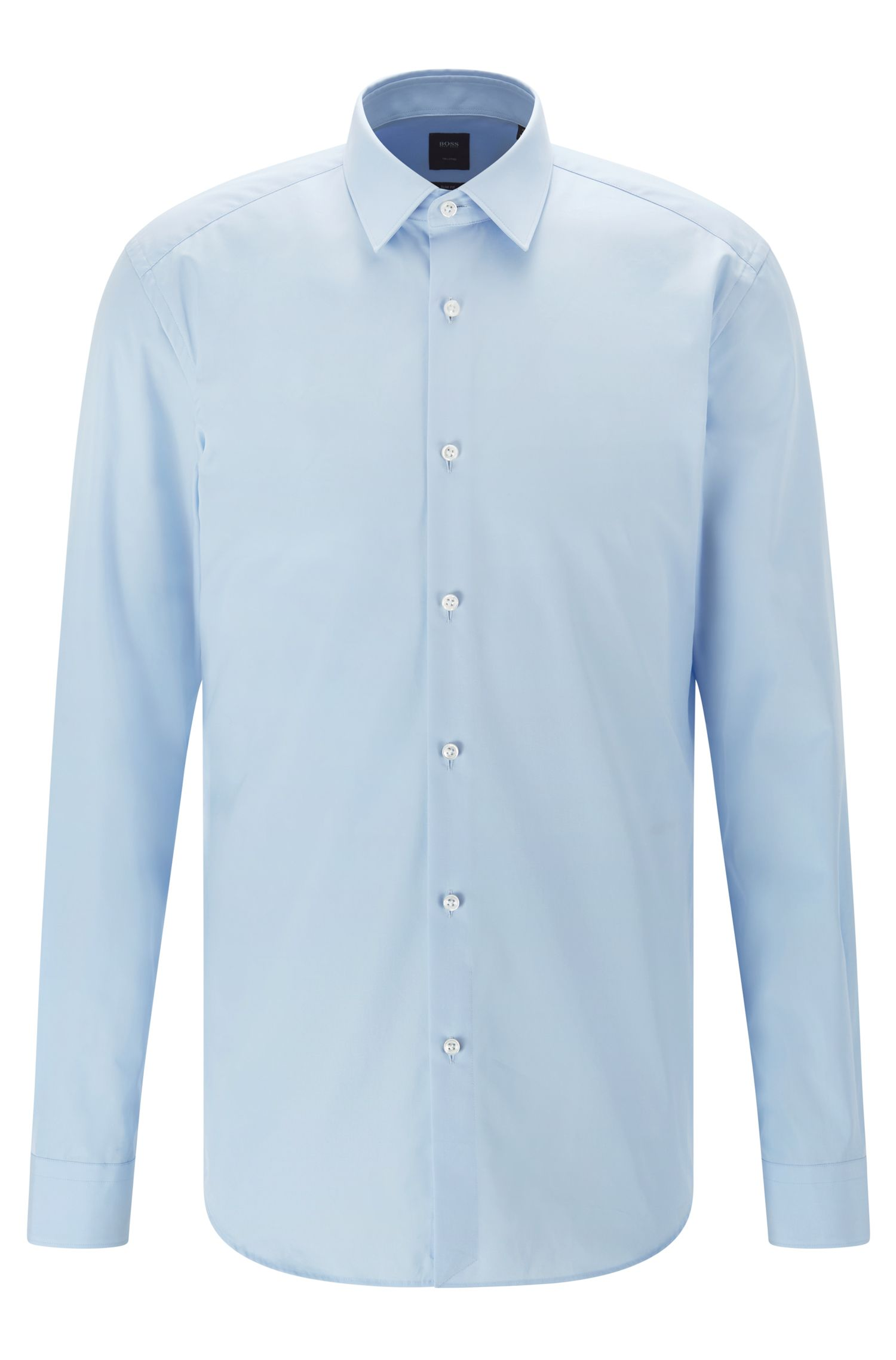 Slim-fit shirt in Italian cotton poplin, Light Blue