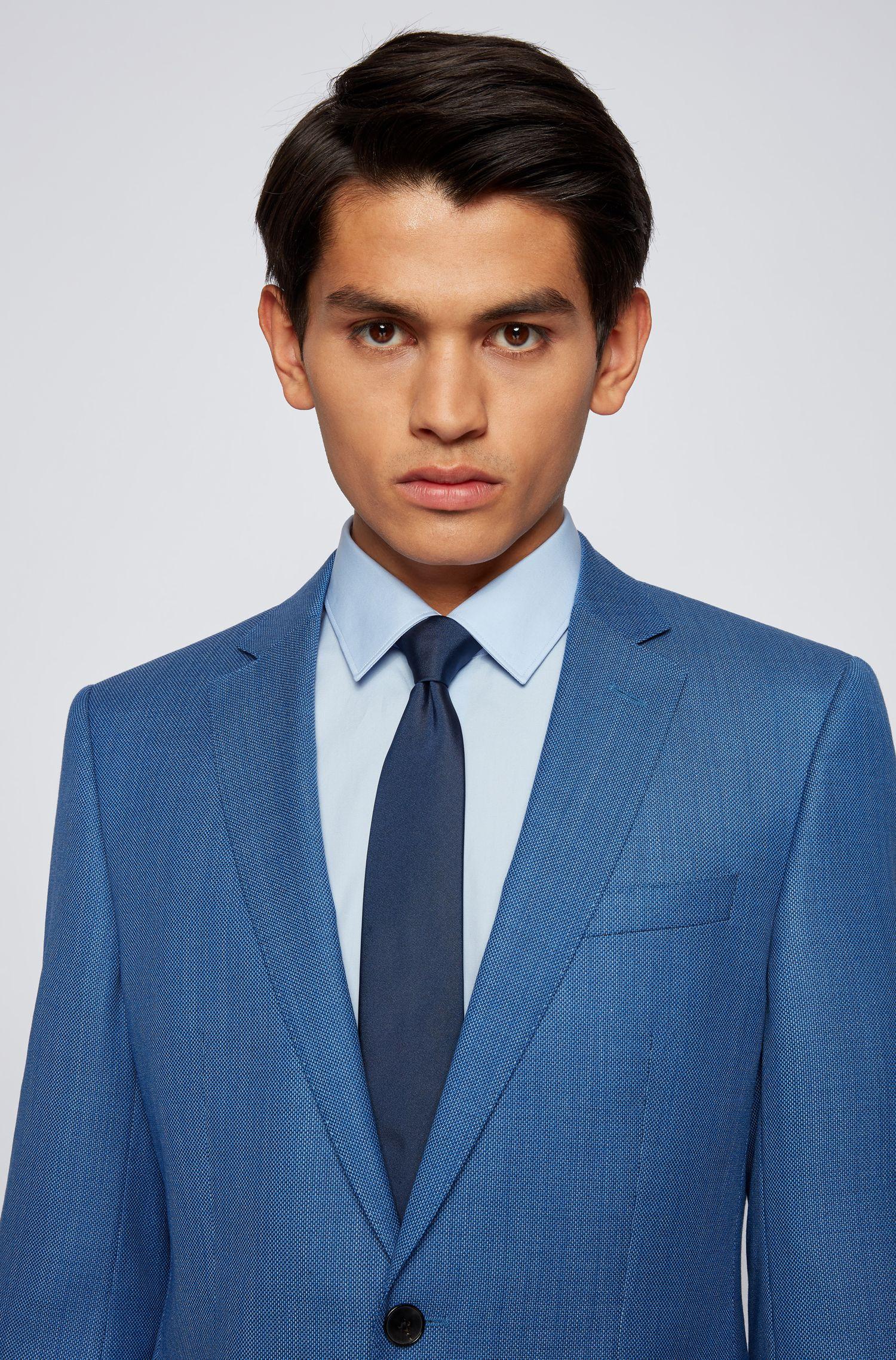 Slim-fit overhemd van Italiaanse katoenen popeline, Lichtblauw