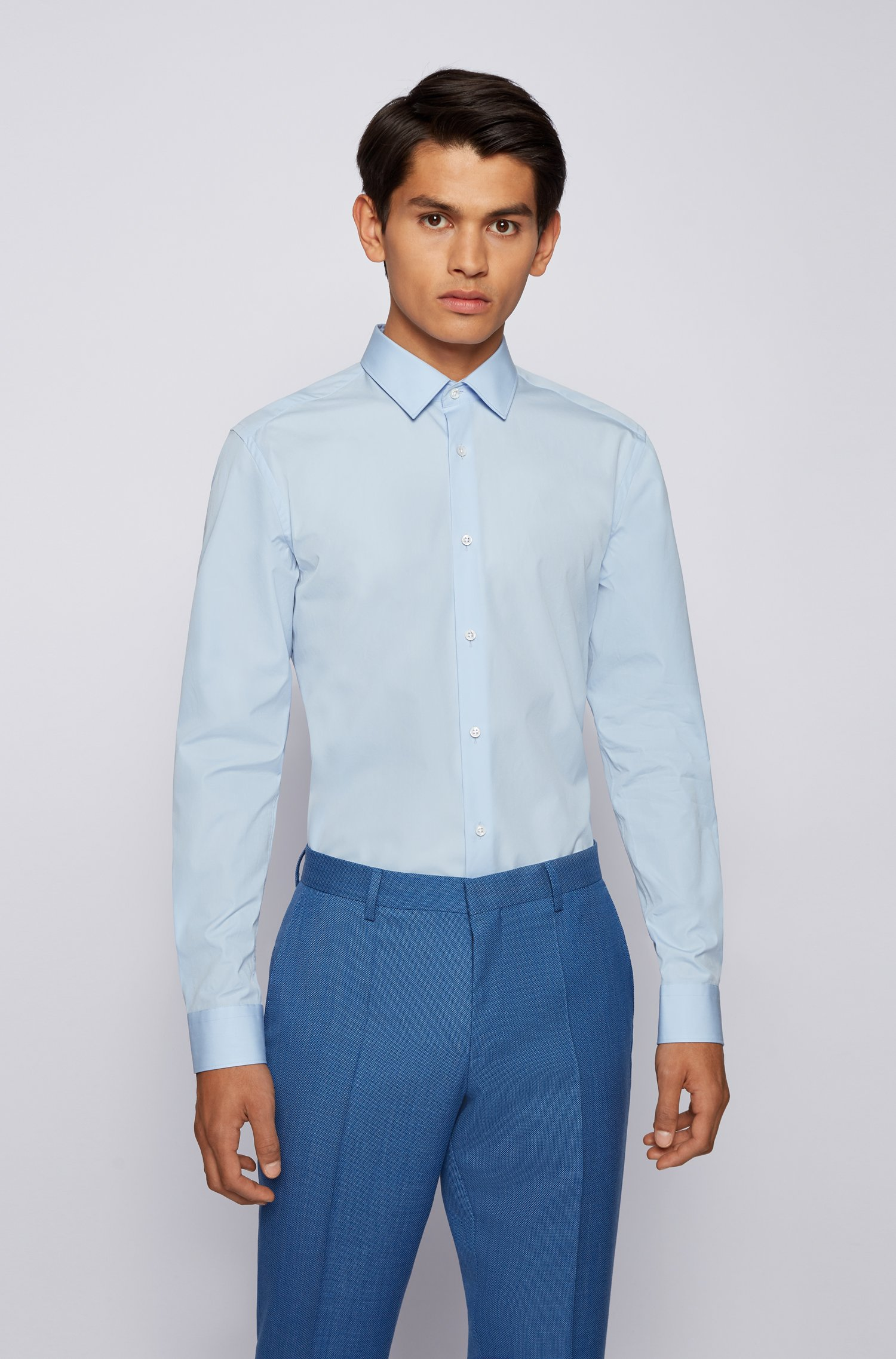Slim-fit shirt in cotton with mother-of-pearl buttons, Light Blue