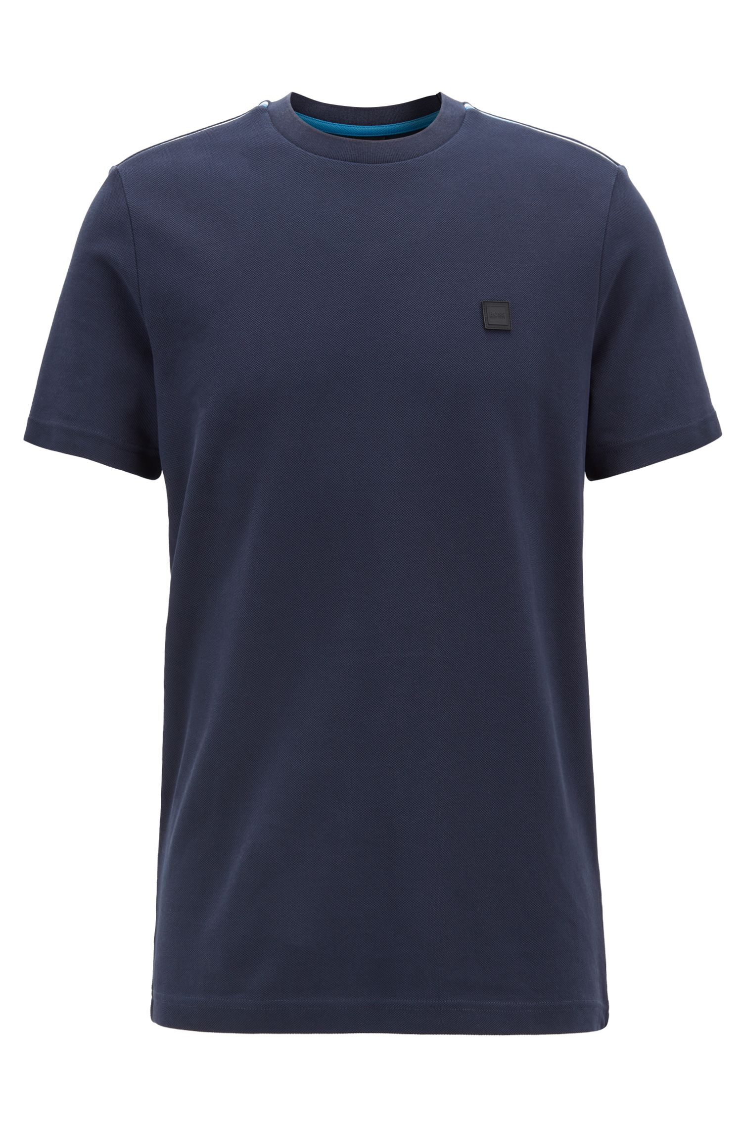 Relaxed-fit T-shirt in cotton with colourblock-detail shoulders, Dark Blue