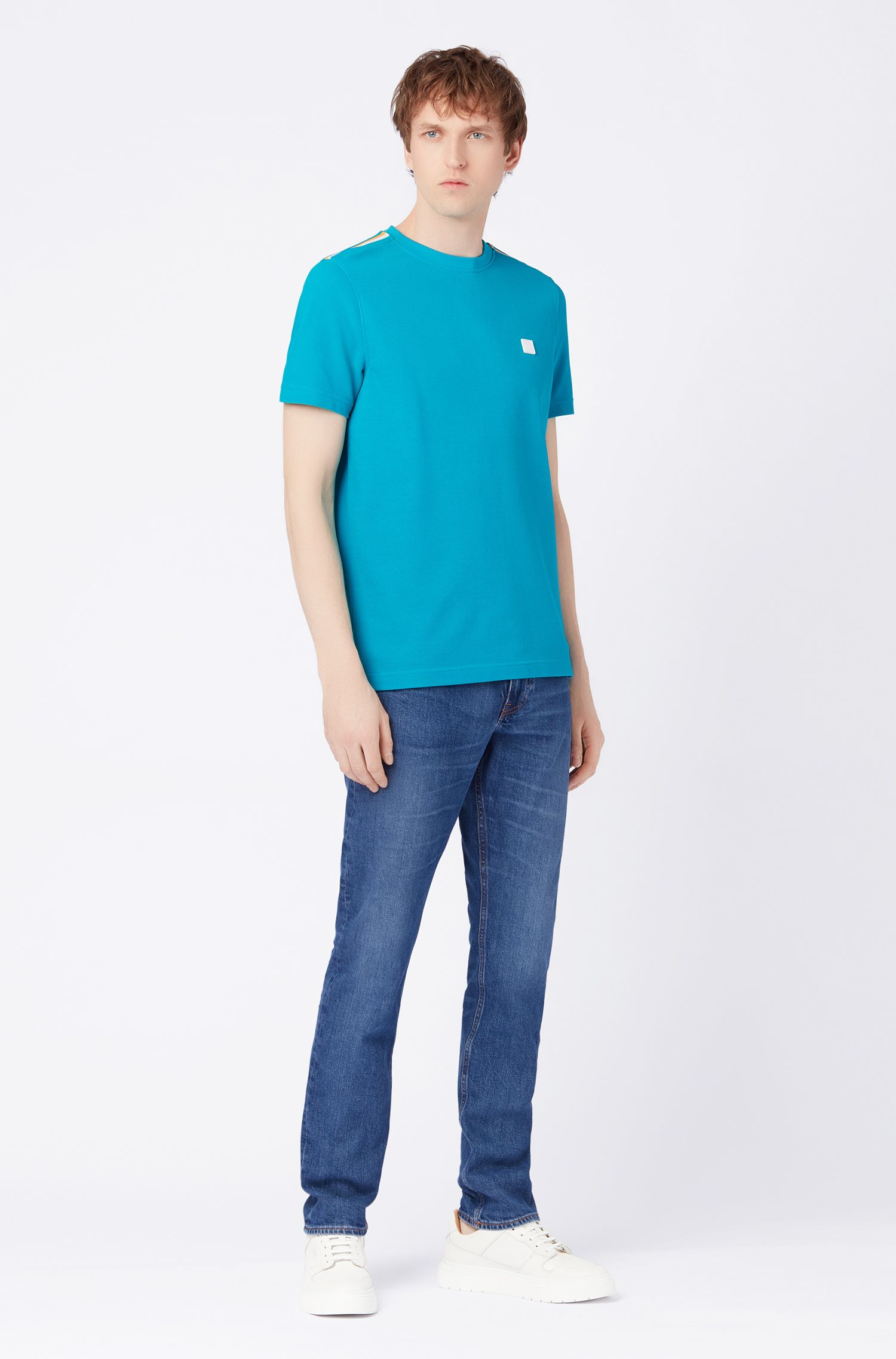 T-shirt relaxed fit in cotone con dettagli a blocchi di colore sulle spalle, Blu