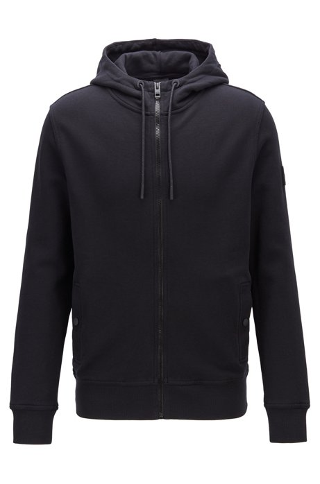 French-terry hooded jacket with rubberised sleeve badge, Black