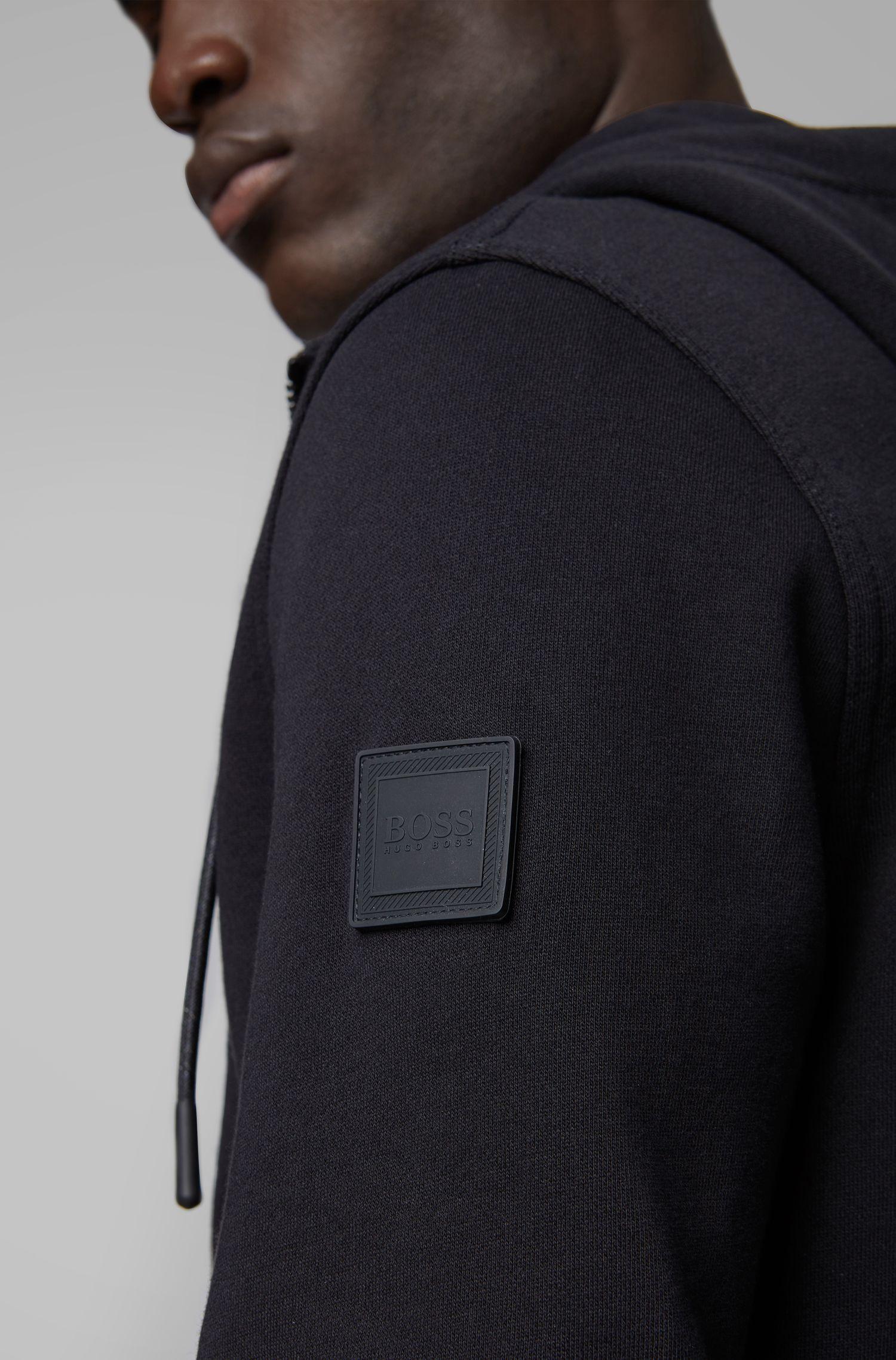 Veste molletonnée à capuche avec badge en gomme sur la manche, Noir