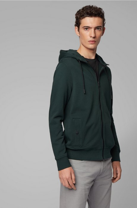 French-terry hooded jacket with rubberised sleeve badge, Dark Green