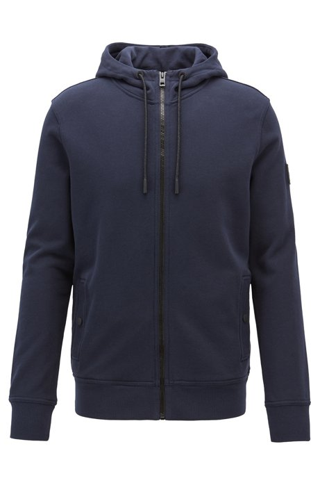 French-terry hooded jacket with rubberised sleeve badge, Dark Blue