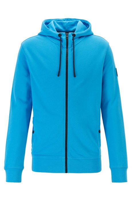 French-terry hooded jacket with rubberised sleeve badge, Blue