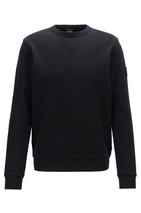 Relaxed-fit sweatshirt in French terry with sleeve badge, Black