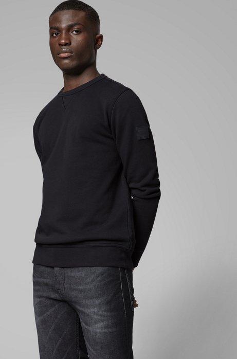 Sweatshirt aus French Terry mit Logo-Aufnäher am Ärmel, Schwarz