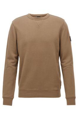 Sweatshirt aus French Terry mit Logo-Aufnäher am Ärmel, Braun