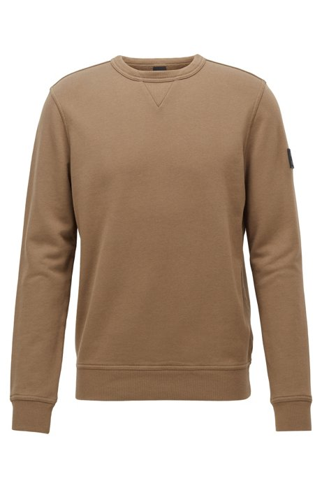 Relaxed-fit sweatshirt in French terry with sleeve badge, Brown