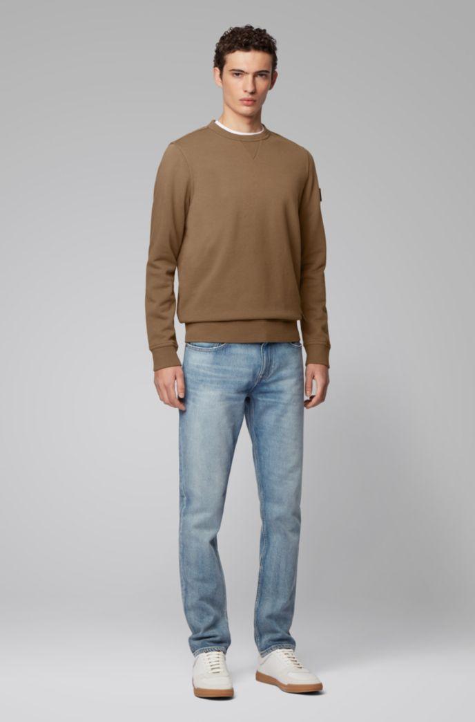 Relaxed-fit sweater van badstof met mouwpatch