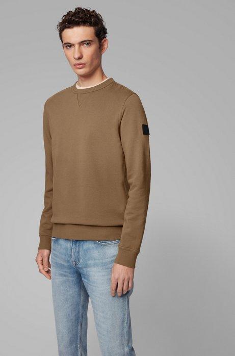 Relaxed-fit sweater van badstof met mouwpatch, Bruin
