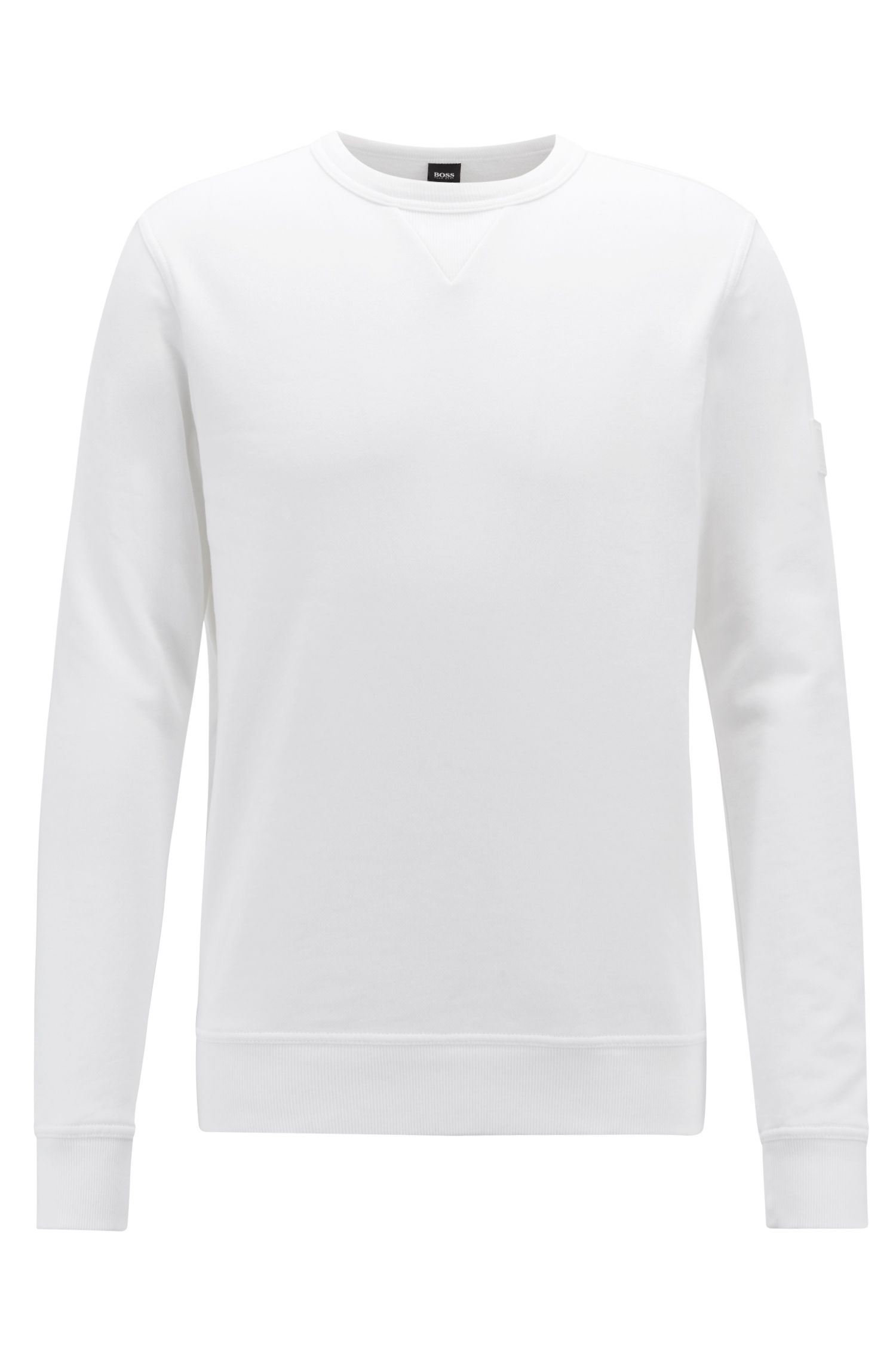 Relaxed-fit sweater van badstof met mouwpatch, Wit