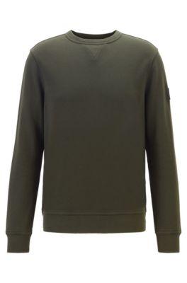 Sweatshirt aus French Terry mit Logo-Aufnäher am Ärmel, Hellgrün