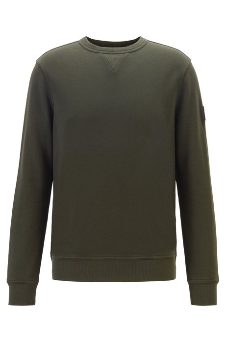 Relaxed-fit sweatshirt in French terry with sleeve badge, Open Green