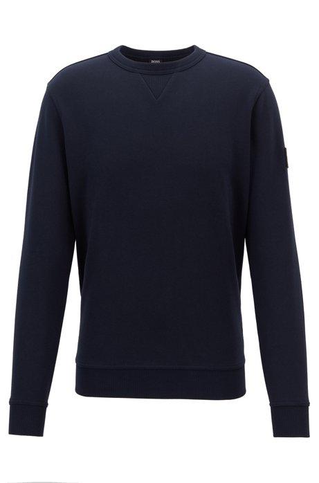 Sweatshirt aus French Terry mit Logo-Aufnäher am Ärmel, Dunkelblau