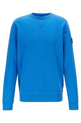 Sweatshirt aus French Terry mit Logo-Aufnäher am Ärmel, Blau