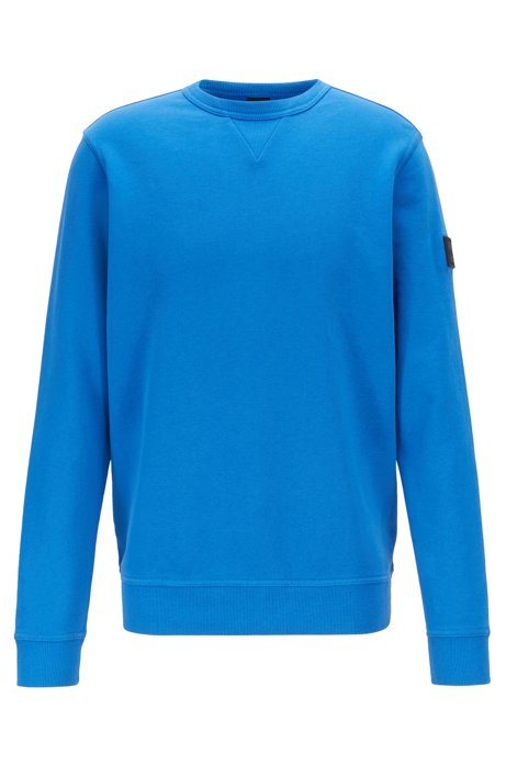 Relaxed-fit sweatshirt in French terry with sleeve badge, Blue