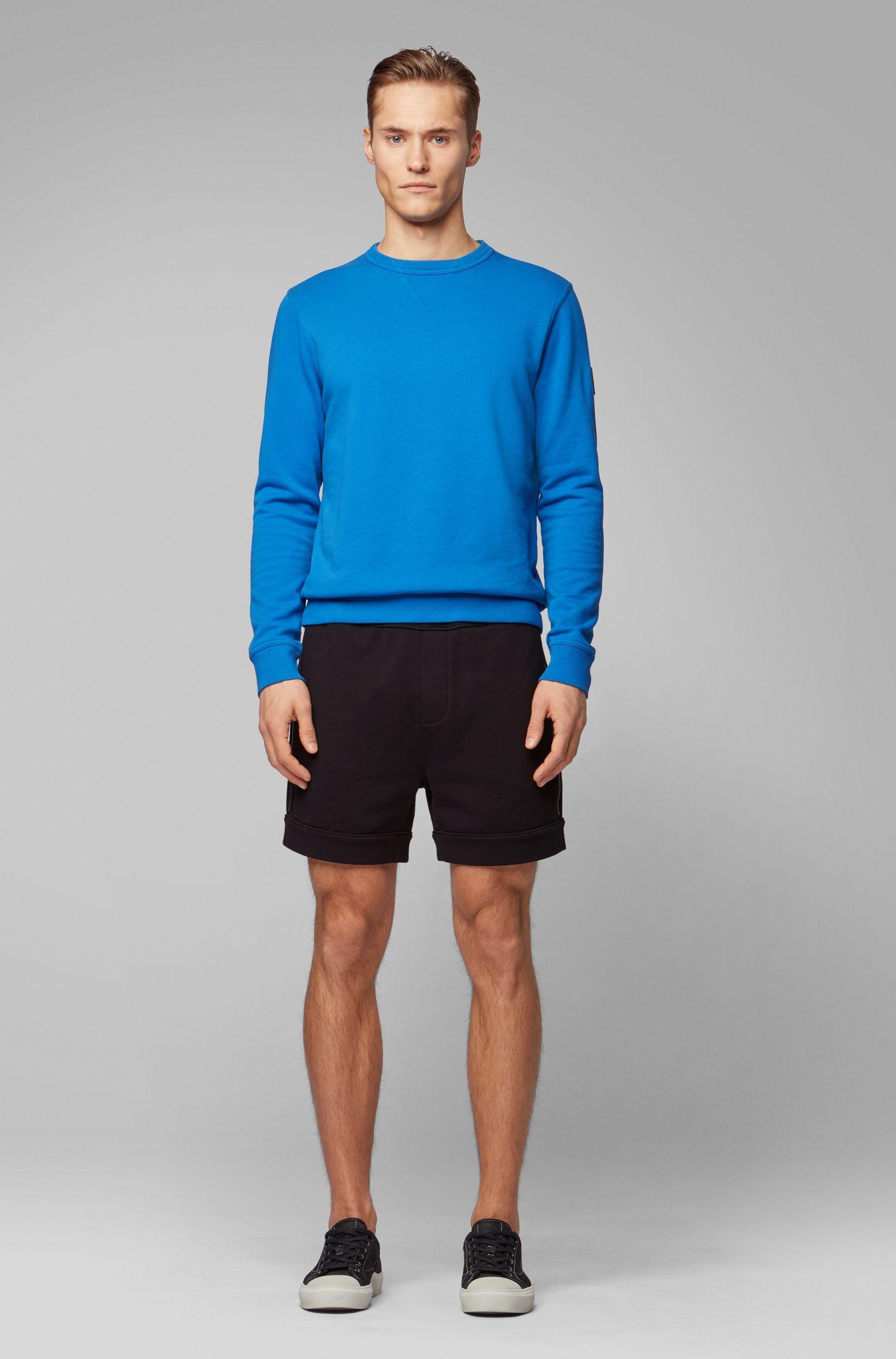 Relaxed-fit sweater van badstof met mouwpatch, Blauw