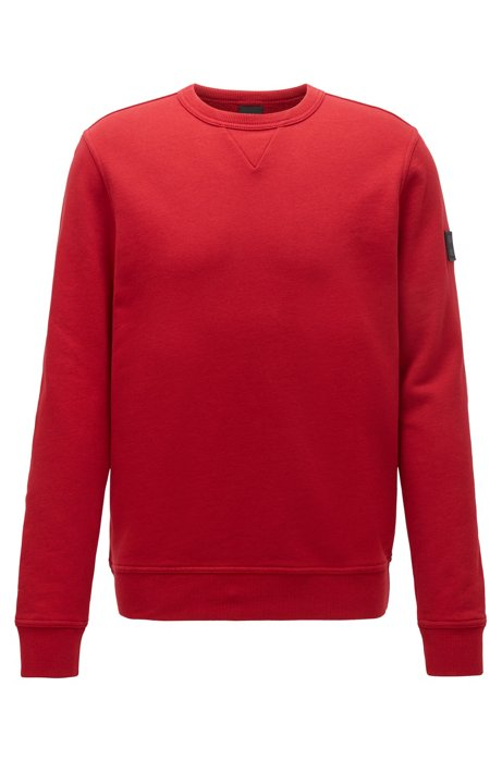 Relaxed-fit sweatshirt in French terry with sleeve badge, Red