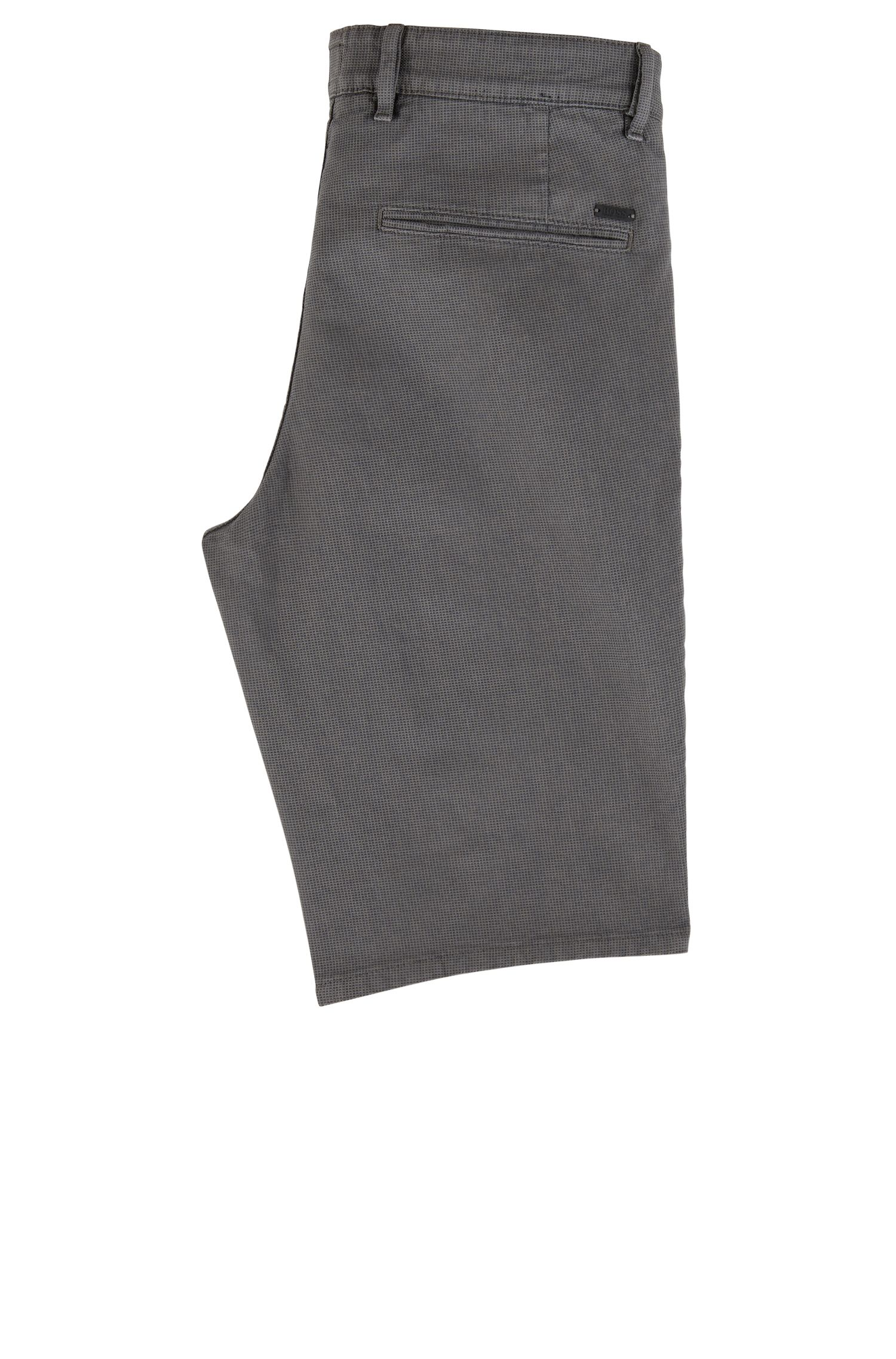 Short chino Slim Fit en coton stretch structuré, Anthracite