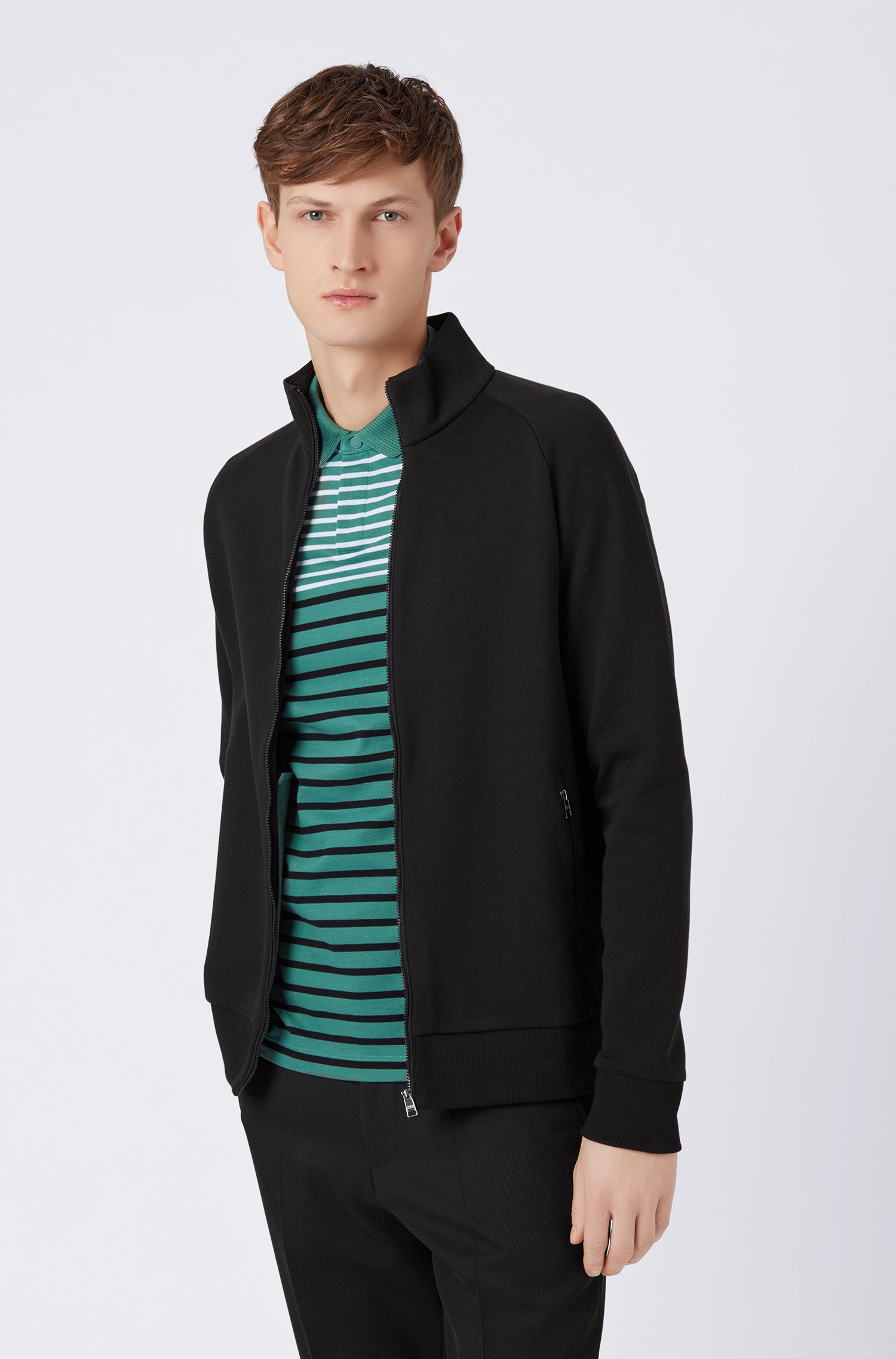 Zip-through jacket in double-faced jersey, Black