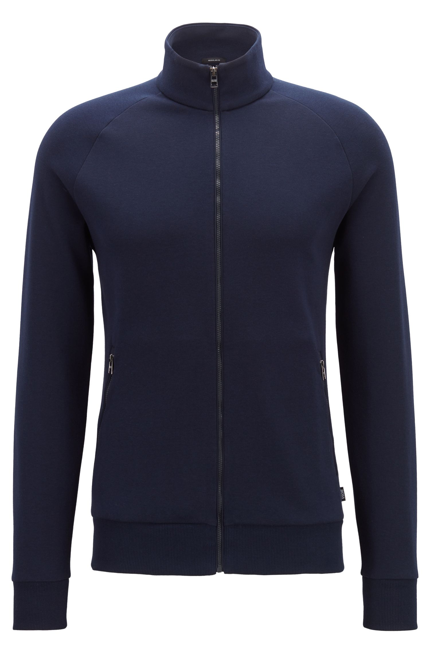 Giacca con zip integrale in jersey double-face, Blu scuro