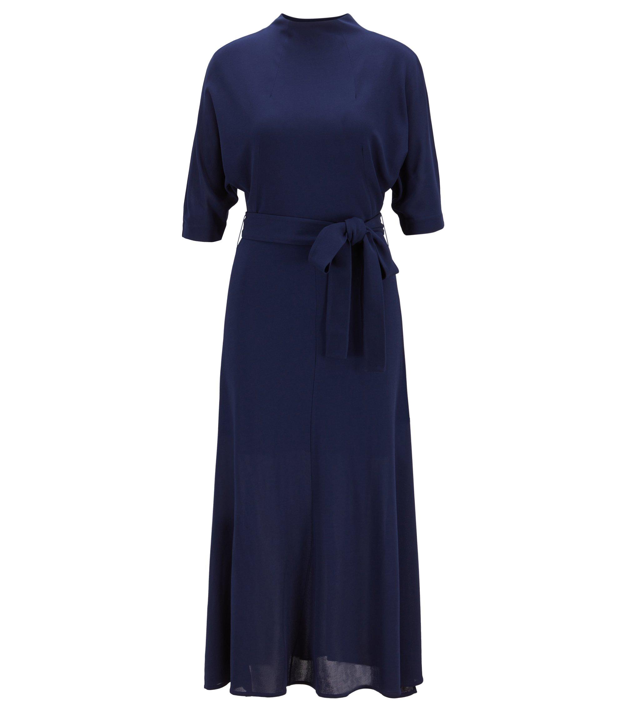 Slim-fit jurk van zachte jersey met afneembare ceintuur, Donkerblauw