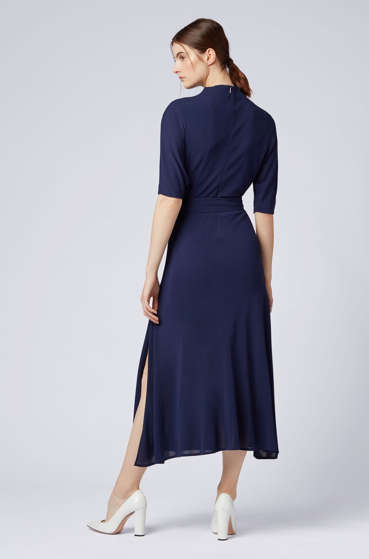 Slim-fit dress in soft jersey with detachable belt, Dark Blue