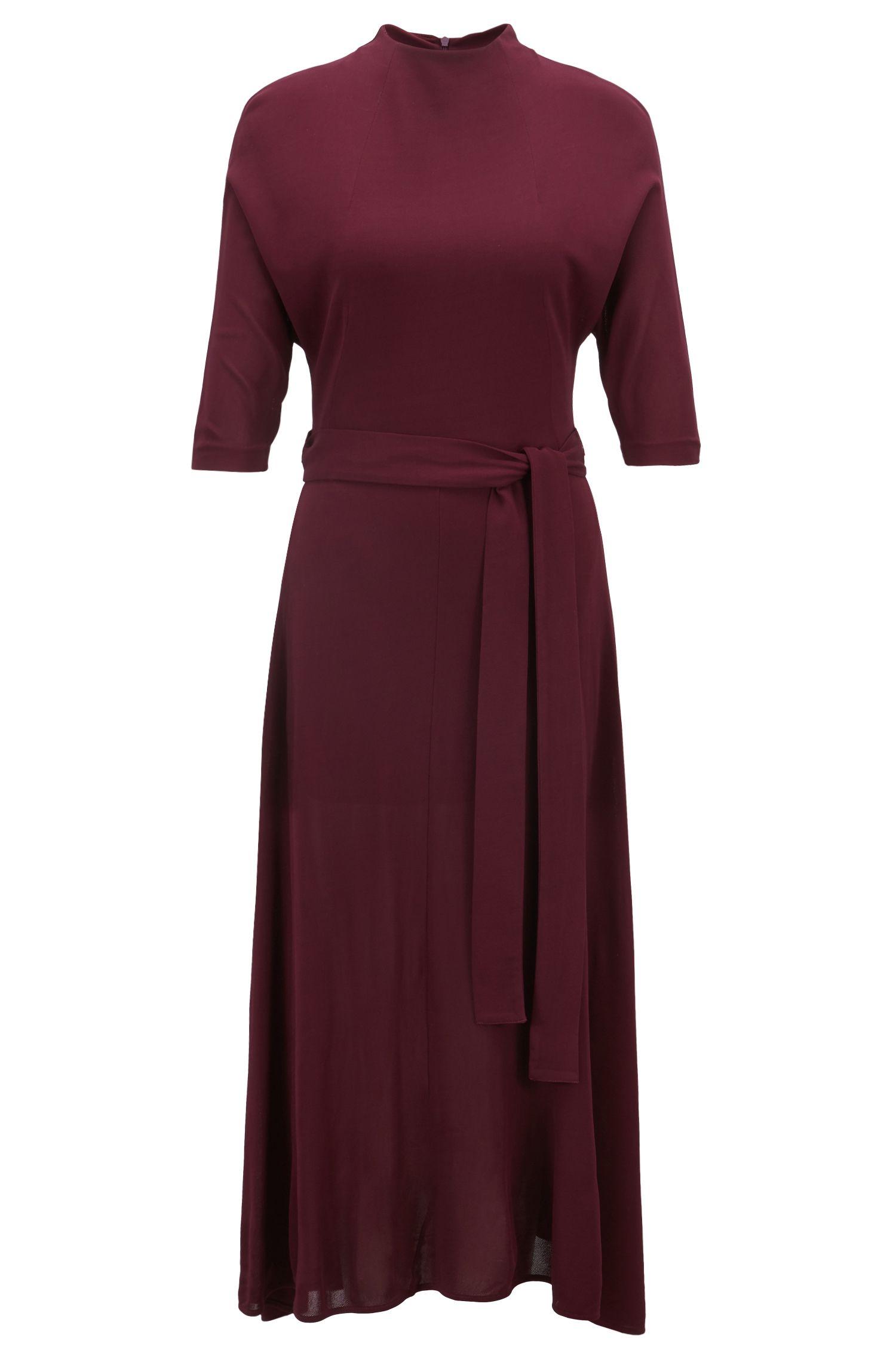 Kleid aus softem Jersey mit abnehmbarem Gürtel, Dunkelrosa