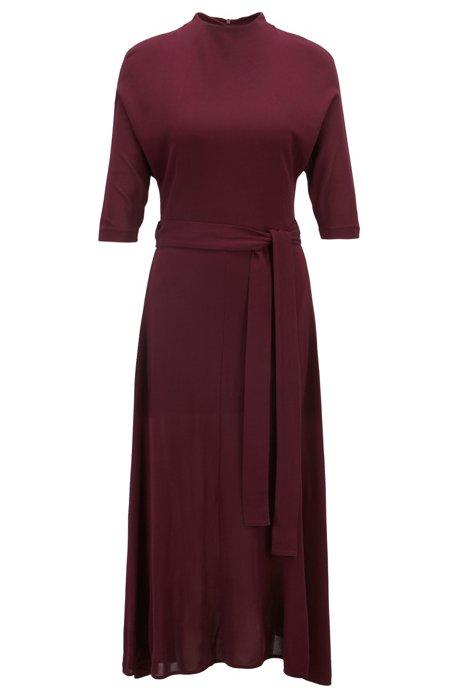 Slim-fit dress in soft jersey with detachable belt, Dark pink
